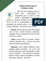 ORIENTACIONES PARA EL VERANO PARA 3, 4 Y 5 AÑOS.