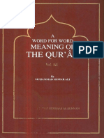 A Word for Word Meaning of the Qur'an Volume 3 Ali