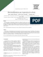 Microencapsulation Par Evaporation de Solvant