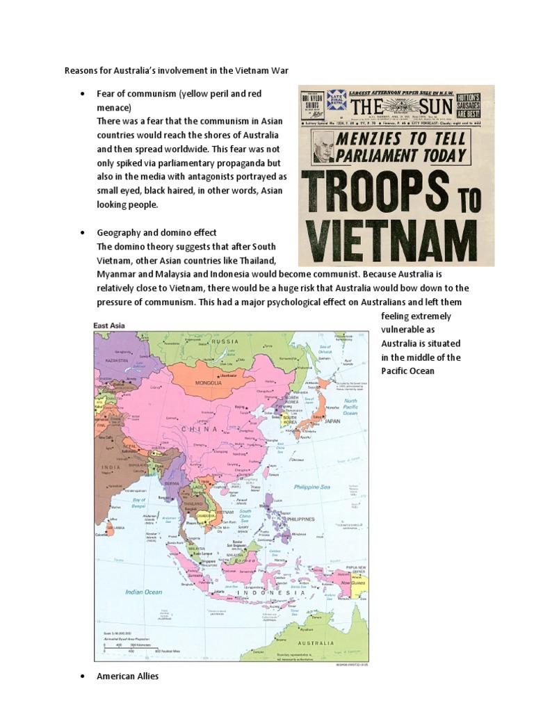 Reasons For Australia 27s Involvement In The Vietnam War Vietnam
