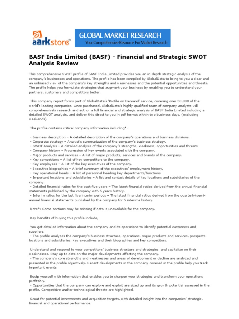 basf limited basf financial and strategic swot analysis basf limited basf financial and strategic swot analysis review swot analysis financial ratio