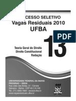 Caderno provas UFBA 2010 vagas residuais