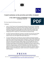 Council Conclusions on the Protection and Welfare of Animals