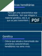 Mendel e a transmissão caract. hereditárias