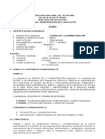 SILABO TEORIAS DE LA ADMINISTRACIÓN MAESTRÍA EN EDUCACIÓN 2012