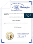 Certificate of Incorporation for Corporate Person