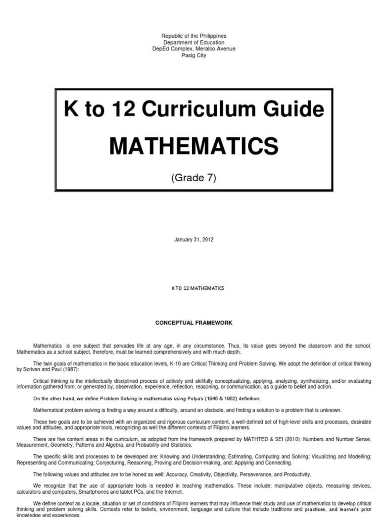 K to 12 mathematic curriculum guide grade 1 | constructivism.