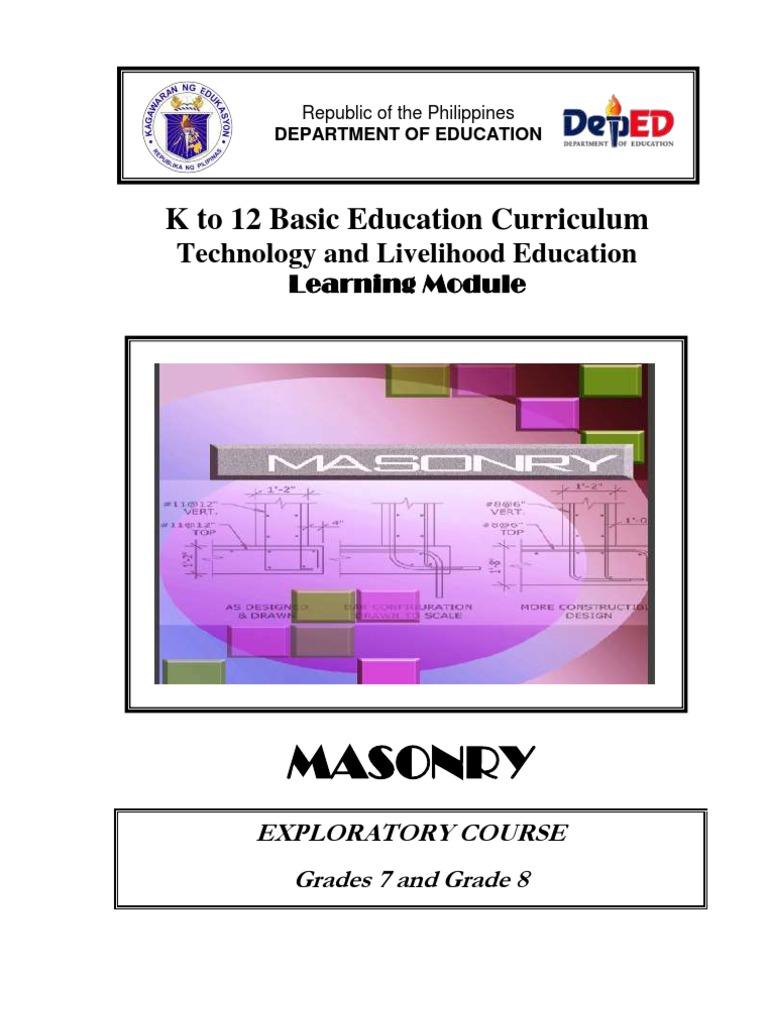 k to 12 masonry learning module masonry brick
