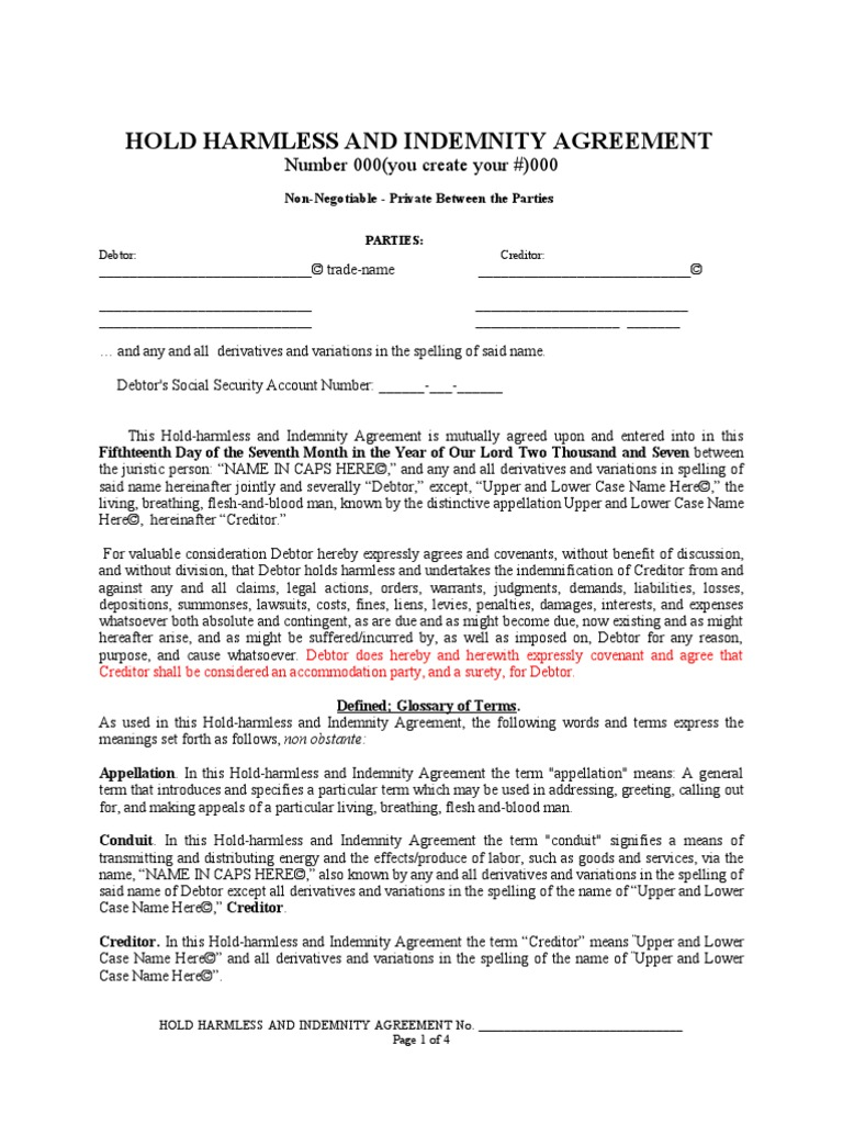 3 Hold Harmless Agreement Sample Indemnity Legal Personality