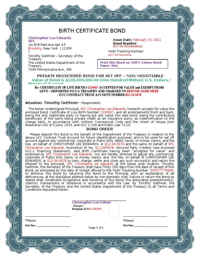certificate birth bond a1 border document bonds code