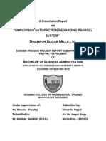 Employees Satisfaction Regarding Payroll System Dhampur Sugar Mills Ltd. Payroll