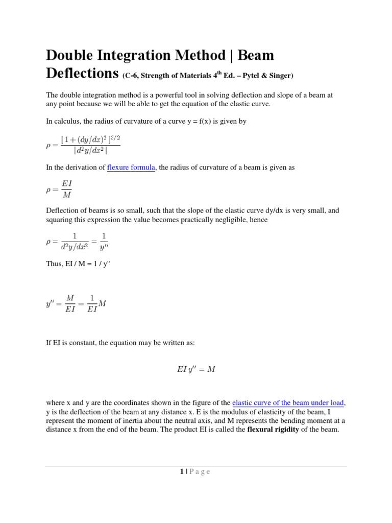 Double Integration Method   Bending   Beam (Structure)