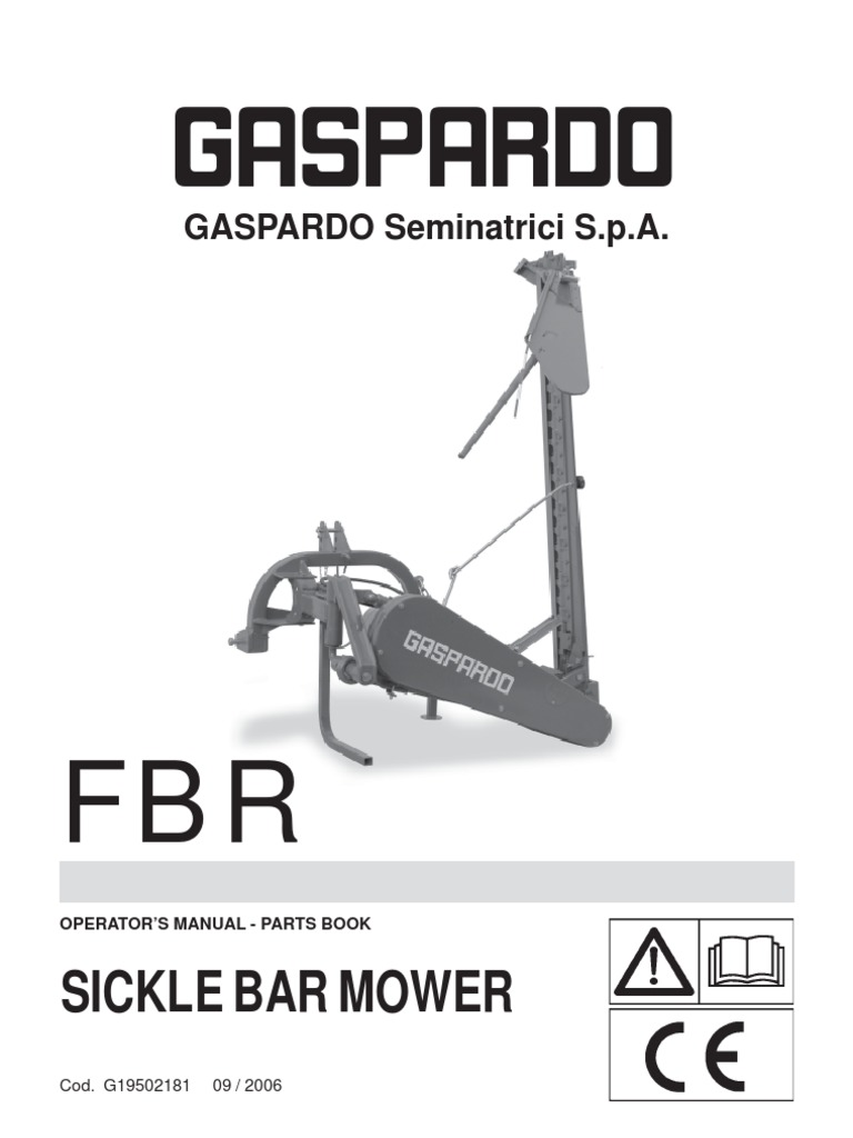 gaspardo fbr manual mower tractor rh scribd com How Does a Sickle Bar Mower Work Used Sickle Bar Mowers