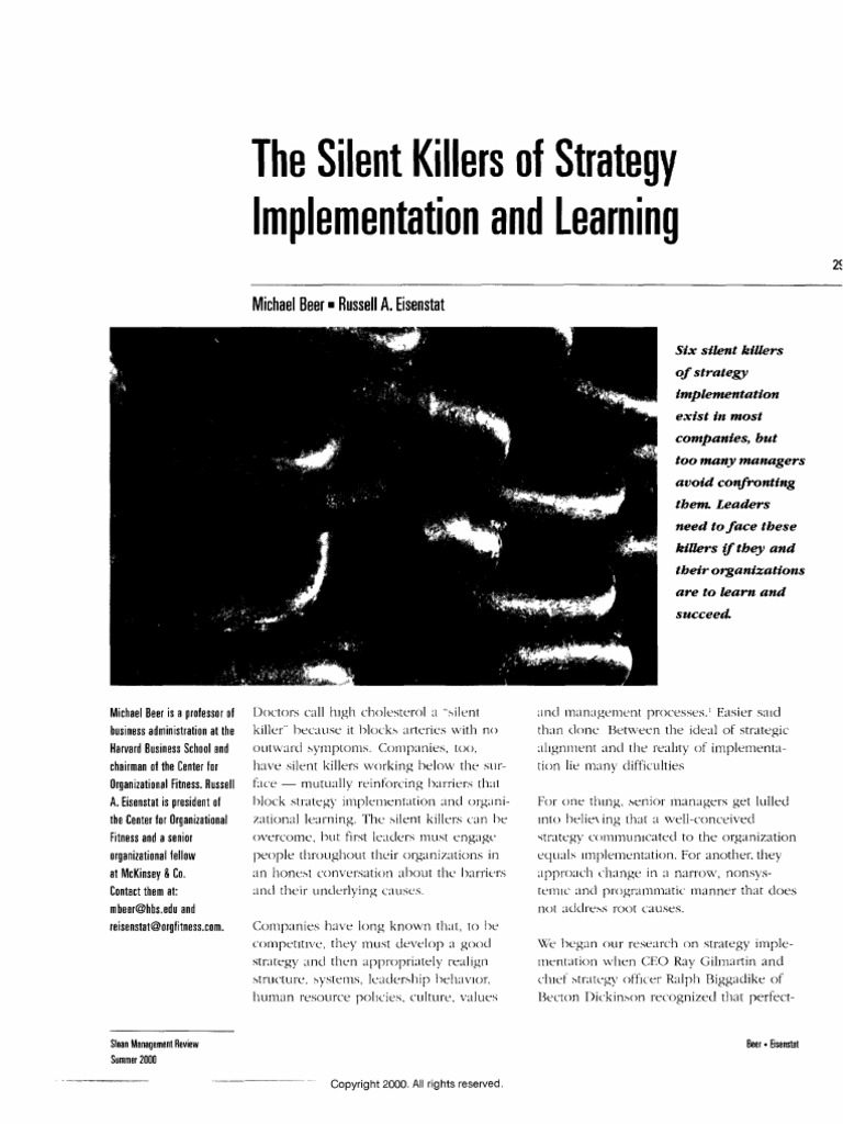 silent killers of strategy implementation