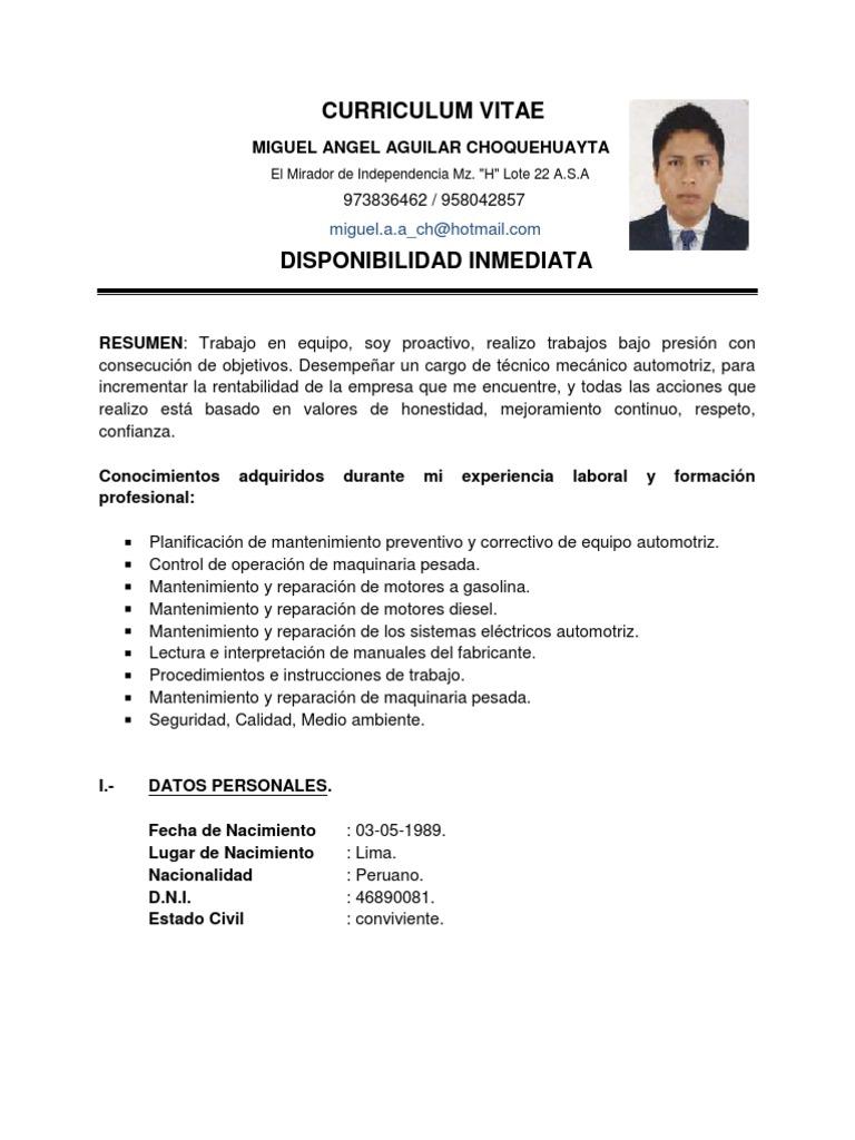 Vistoso Objetivo De Mantenimiento Del Currículum Mecánico Bosquejo ...