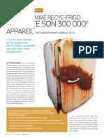 Le programme recyc-frigo collecte son 300 000e appareil