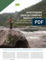 Investissons dans les énergies renouvelables plutôt que dans le complexe hydroélectrique de la Romaine