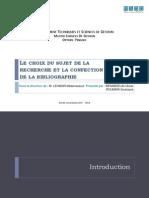 Le Choix Du Sujet de La Recherche Et La Confection de La Bibliographie