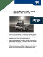 Dacia Lodgy Press Kit