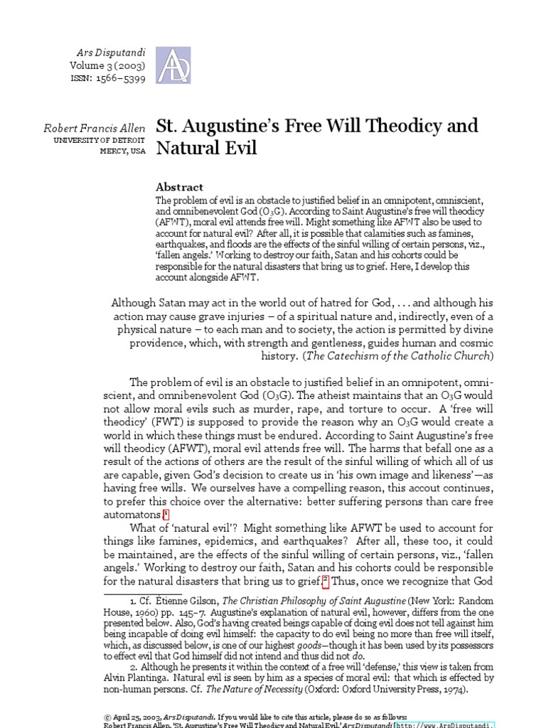 free will according to st augustine