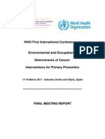 Enviromental & Occupational Determinants of Cancer WHO 17-18mar2011