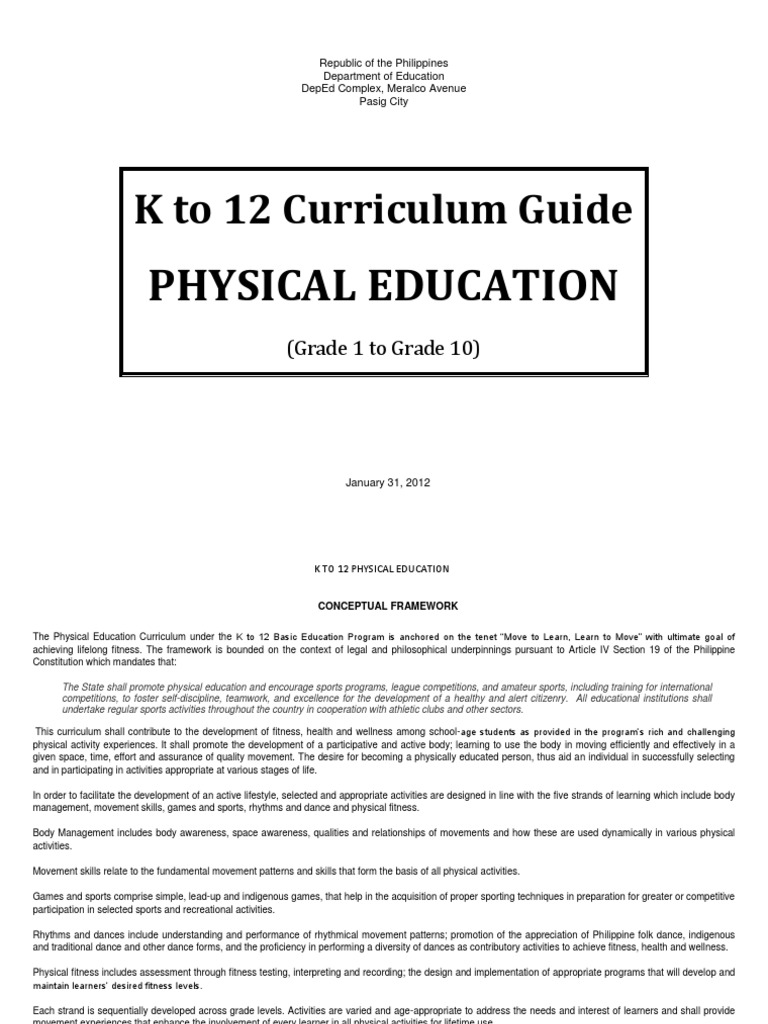 Physical Education k 12 Curriculum Guide | Physical Education | Physical  Fitness