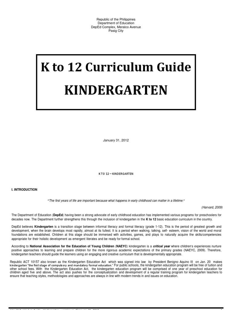 Kindergarten Curriculum Guide   Kindergarten   Learning