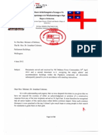 Letter to Minister of Defence 06 June 2012
