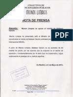 Nota Prensa y Escrito Ministro Justicia