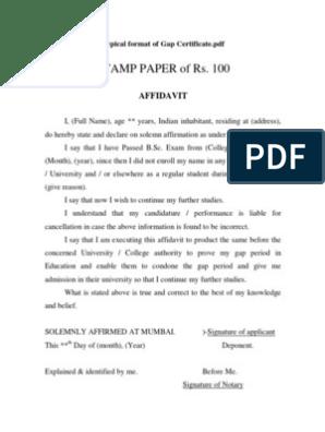 Format of Gap Certificate