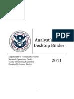 DHS Analyst's Desktop Binder - 2011 [REDACTED]