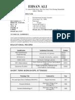 EHSAN ALI Software Engineer Resume