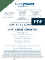 Evening with Mitt Romney & Gov. Chris Christie for Romney Victory Inc.
