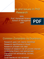Challenges and Issues in PhD Research