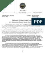 Gov. Jan Brewer's statement on Arizona v. US
