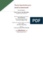 Les leçons importantes pour toute la communauté (version 2008)