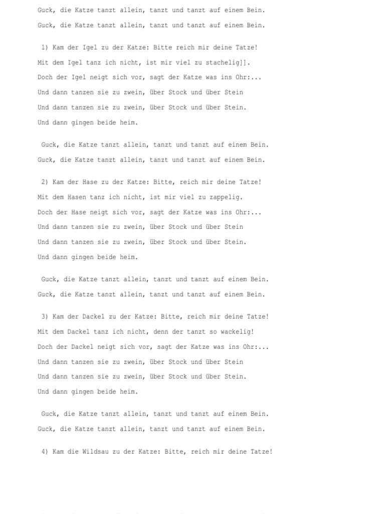 Katze allein tanzt text schau die Songtext von