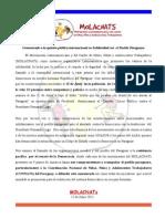 Comunicado MOLACNATs Contra El Golpe de Estado Politico en Paraguay