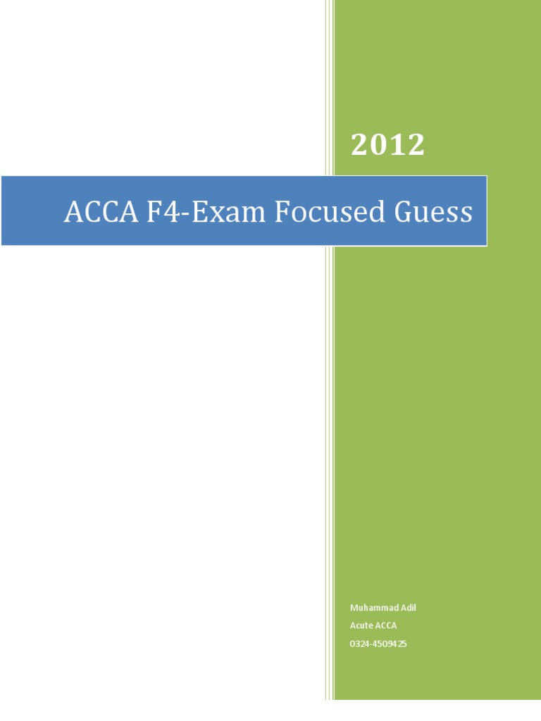 ACCA F4 Guess Paper June 2012