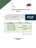 Nota aclaratoria al Oficio Múiltiple N° 214-2012-DREJ-DGI