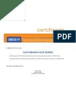 Certificado Participação 4o. Simpósio Brasileiro de Construção Sustentável 2011