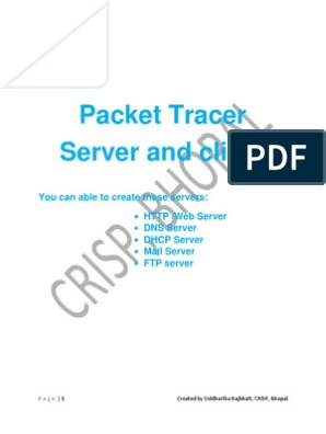 Cisco Packet Tracer Server and Client Configuration Help File | Ip