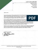 Auburn PD Chief Gary Giannotta -- Resignation Letter