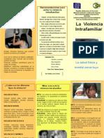 Triptico Charla Violencia Intrafamilar - Junio 2012 / UPEL-IMPM - Nucleo Tachira