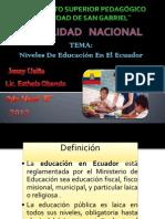 Niveles de Educacion en el ecuador