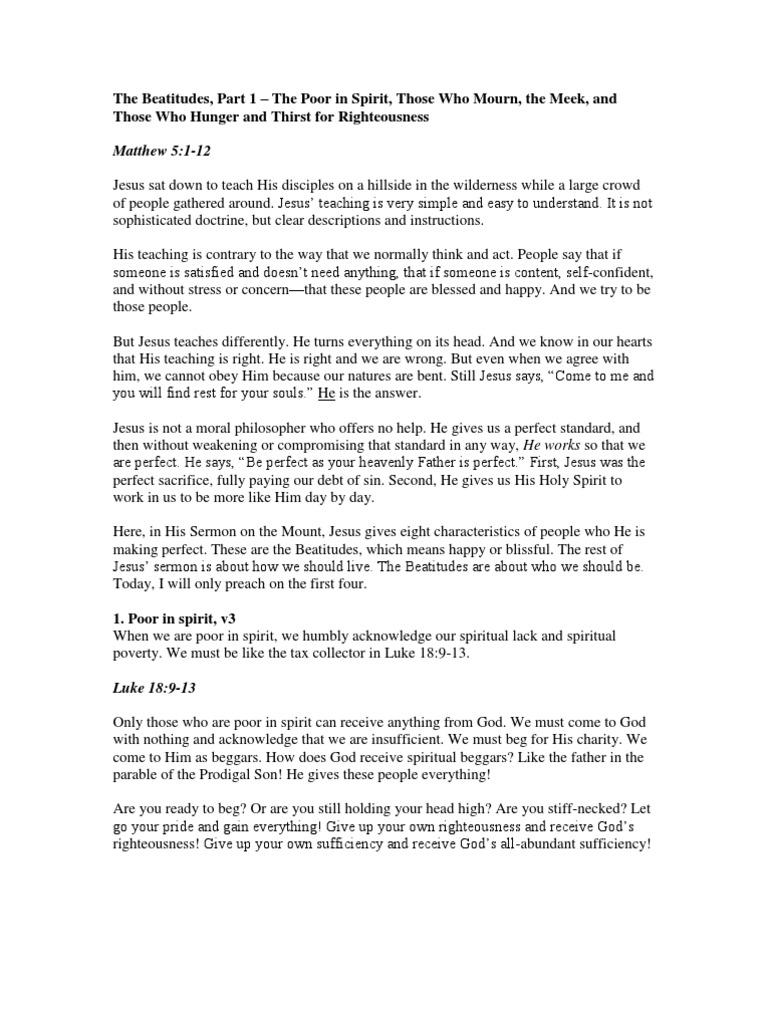 The Beatitudes Part 1 (Sermon)   Beatitudes   Righteousness