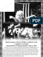 Rep. Cherryl Walker address to Legislative Assembly - Oregon House July 4, 2001