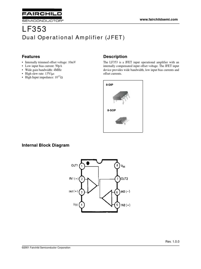 Lf353 Operational Amplifier Tl082 Dual Schematic