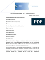 Carta al Tribunal Constitucional de la MD FEPUC