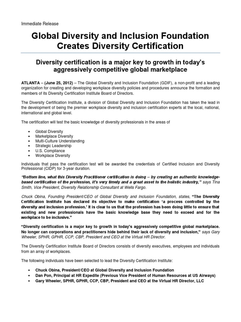 Global diversity and inclusion foundation creates diversity global diversity and inclusion foundation creates diversity certification certification human resource management 1betcityfo Choice Image